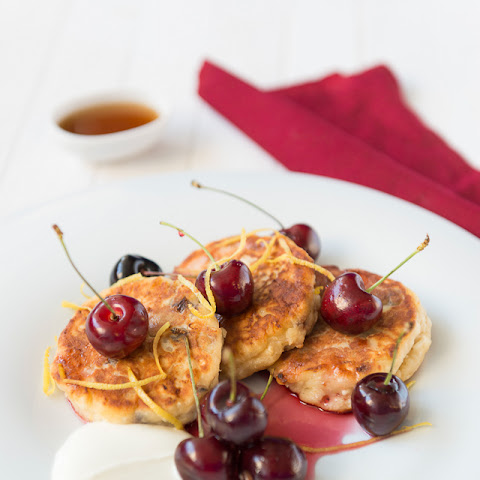 Cream Cheese Fritters, English Summer Cherries and Maple Syrup