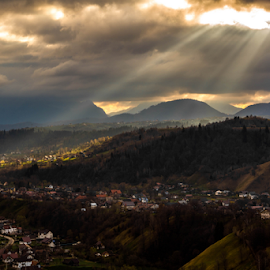 Early Morning in Pestera by Tudor Migia - Landscapes Mountains & Hills ( clouds, mountains, sky, village, romania, sun, pestera )