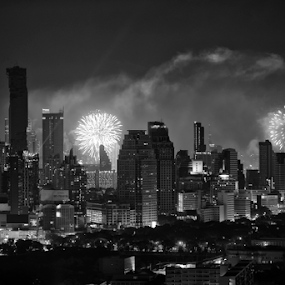 HAPPY NEW YEAR by Frank Photography - Public Holidays New Year's Eve ( bangkok, skyline, black and white, new year, 2016, fireworks, view, light )