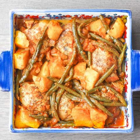 Chicken Thighs with Green Beans and Potatoes in a Tomato Sauce