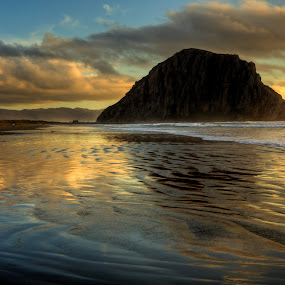 Morro Bay by Bud Walley - Landscapes Beaches ( bay, sunset, california, rock, beach, morro )