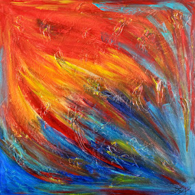 SUMMER WAVES by Zoritza  Wejnfalk - Painting All Painting ( abstract art, mixed media, zozo, wejnfalk, zoriza )