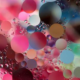 Floating Spheres by Janet Herman - Abstract Macro ( abstract, oil and water, oil drops, macro, floating, spheres, oil )