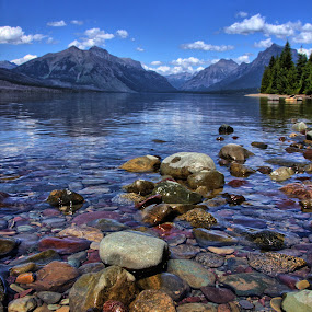View From The Shore by Randi Hodson - Landscapes Mountains & Hills ( water, mountains, sky, trees, lake, rocks,  )