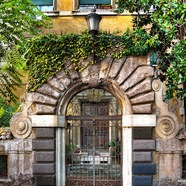 The Gate by Darin Williams - Buildings & Architecture Architectural Detail ( arch, vines, rome, door, ivy, italy, gate )