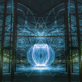 The blues by Dhito Riyadi - Abstract Light Painting ( mirrors, bulb, steelwool, blues, street photography )