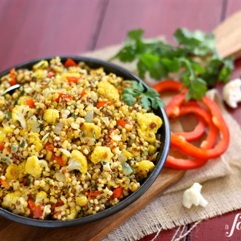 Curried Cauliflower with Israeli Couscous and Grains