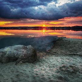 Sunset on Naklo by Lucie Amnezie - Landscapes Sunsets & Sunrises ( clouds, náklo, sunset, czech republic, beach )