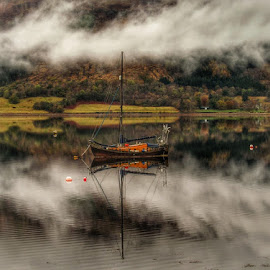 Clouded in Mystery by Gordon Westran - Landscapes Waterscapes ( water, scotland, cloud, lake, loch, boat )