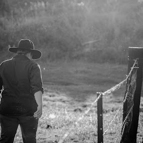 End of day chores by Laurie King - People Street & Candids ( fence, woman, horse, australia, rural queensland, golden hour )