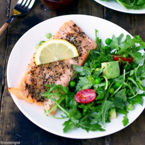 Salmon With Arugula Pea And Avocado Salad