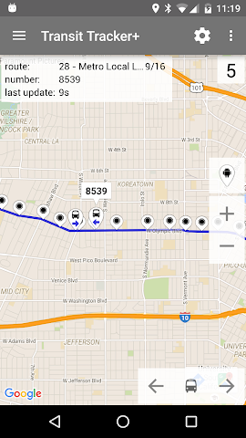 android Transit Tracker+ - Metro Screenshot 1