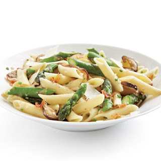 Penne with Asparagus, Shiitake, and Pancetta