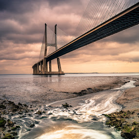 No name .... by Emanuel Fernandes - Buildings & Architecture Bridges & Suspended Structures ( water, clouds, lisbon, bridge, long, portugal, pwcbridges )