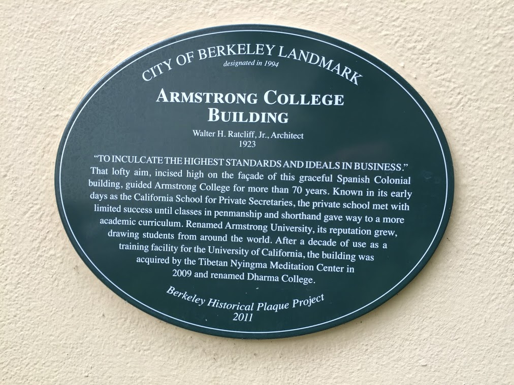 """ARMSTRONG COLLEGEBUILDING Walter H. Ratcliff, Jr..Architect 1923  """"TO INCULCATE THE HIGHEST STANDARDS AND IDEALS IN BUSINESS."""