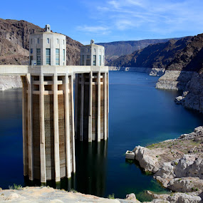 Man Made goliaths by Vita Perelchtein - Novices Only Landscapes ( water, upstream, lake mead, hoover dam, sky, blue, dam, downstream, vegas, river )