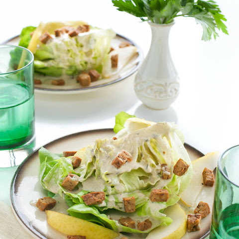 Butter Lettuce Wedges with Sunflower Seed Dressing, Pears & Tempeh Bacon