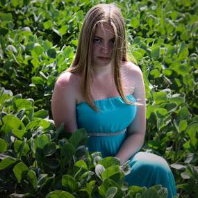 by Sandra Jakovljevic - Digital Art People ( girl, blue, green, summer, women )