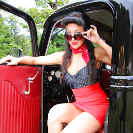 Glamour About Town by Mike LeBlanc - People Fashion ( glamour, fashion, model, truck, woman, retro, pinup, hot rod, babe )