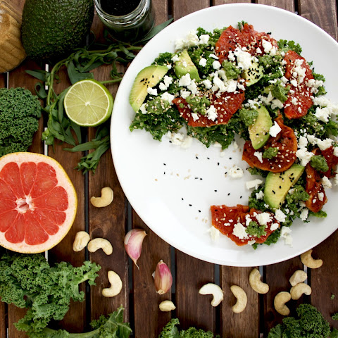 Kale Salad with Caramelized Grapefruit, Avocado, Feta and Pesto Dressing