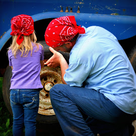 working with papaw by Tammy Price - People Family ( tools, girl, papaw, little, toddler, outside )