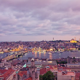Istanbul Birds Eye View by Japoy Lucto - City,  Street & Park  Historic Districts ( lights, tower, skyline, sunset, galata, sea, turkey, istanbul, tour )