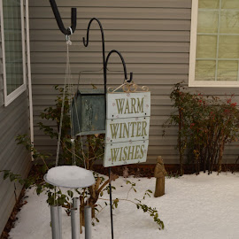 Warm Winter Wishes by River Lackey - Novices Only Objects & Still Life ( home, winter, windchime, wishes, snow )
