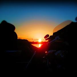 Harley sunset by Jon Strittmatter - Transportation Motorcycles ( harley davidson, sunset )