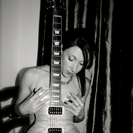 guitar by John Brock - Nudes & Boudoir Boudoir ( model, black and white, boudoir, guitar, beauty )