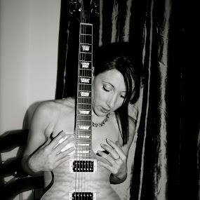 guitar by John Brock - Nudes & Boudoir Boudoir ( model, black and white, boudoir, guitar, beauty )