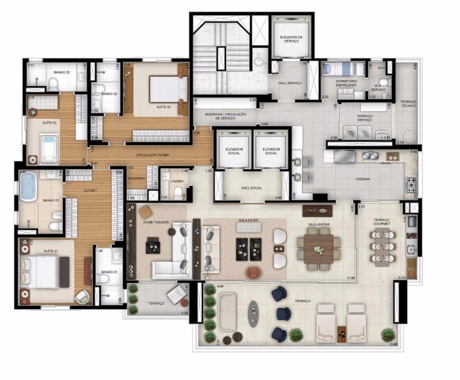 Planta Tipo com Sala Ampliada - 284 m²