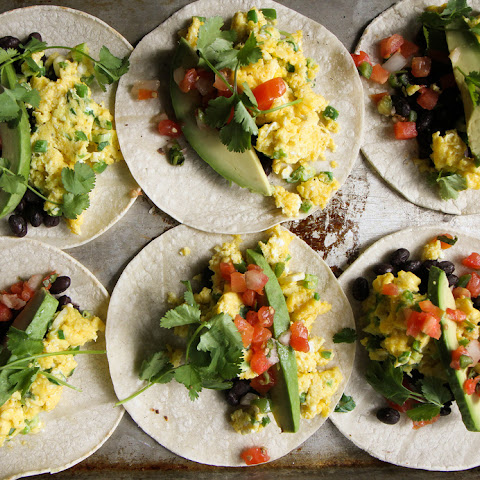 Breakfast Tacos with Spicy Green Onion and Cheddar Scrambled Eggs