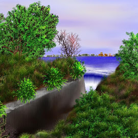 Quiet among the city by Diane Haas - Digital Art Things ( distant city, scenery )
