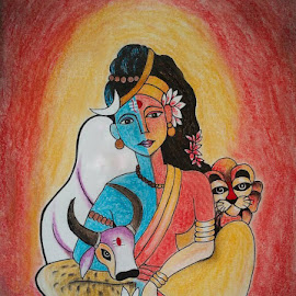 Ardhanarishvara by Sangeeta Paul - Drawing All Drawing