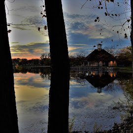 Triple Delight by Kathy Woods Booth - Landscapes Sunsets & Sunrises ( reflections, waterscape, dusk, silhouette, tranquility, mirrored reflections, twilight, trees, park )