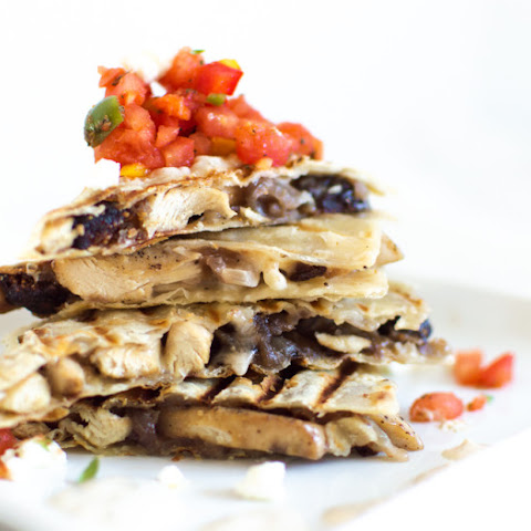 Chicken Feta Quesadilla with Harissa Salsa