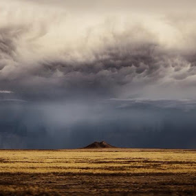 Two Buttes  by Melanie Kern-Favilla - Landscapes Prairies, Meadows & Fields ( clouds, sky, buttes, colorado )