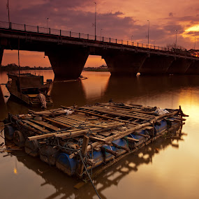 Sunset Under A Bridge by Stuart Rango - Transportation Other ( stuart, kuching, sunset, rango, sarawak )