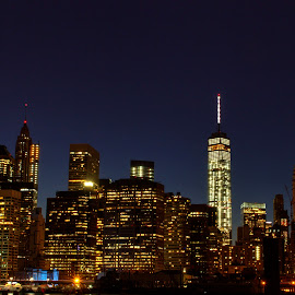 Manhattan skyline from Brooklyn by Judy Florio - City,  Street & Park  Skylines ( skyline, hdr, manhattan, night, cityscape )