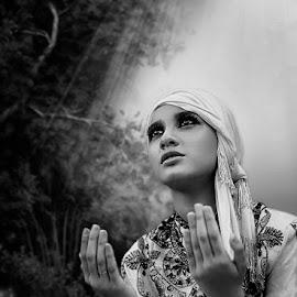 The Prayer in BW by Chandra Irahadi - Black & White Portraits & People