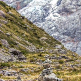 Mt Cook by Vibeke Friis - Nature Up Close Rock & Stone ( clouds, mountains, ice, petroform, stone stacks,  )