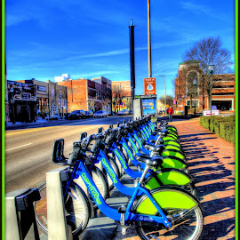 All in a row by Peter Michael - Transportation Bicycles ( hdr, colorful, bikes, hotel, renta )