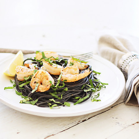 Squid Ink Pasta with Roasted Garlic Shrimp