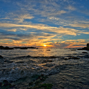 Asilomar Sunset Wide View by George Krieger - Landscapes Sunsets & Sunrises