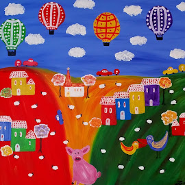 PINK PIGGY by Zoritza  Wejnfalk - Painting All Painting ( medows, naive art, zoritza, house, countrey side, pig, bird, modern art, abstract art, air balloon, trees, sheep, pink, wejnfalk )
