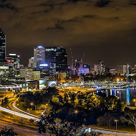 Perth at Night by Ron McGrechan - City,  Street & Park  Skylines ( skyline, perth, skyscrapers, night lights, freeway, nightscape )