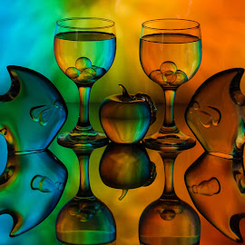 Fishy by Lisa Hendrix - Artistic Objects Glass ( inversion, reflection, colorful, color, fish, apple, colors, art, artistic, glass, mirror image, object, spheres, wine glasses, glass fish, glass apple )