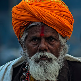 Portrait Of A Pilgrim by Chiradeep Mukhopadhyay - People Portraits of Men ( gangasagar, face, sadhoo, pilgrim, portrait )