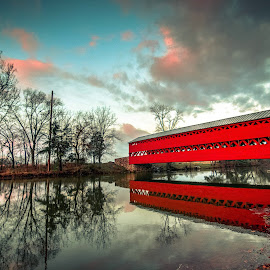 Sachs Covered Bridge by Geoff Lawrence - Buildings & Architecture Bridges & Suspended Structures ( covered bridge, pennsylvania, sunrise, reflecting, gettysburg )