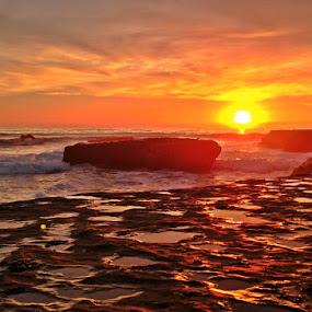 Red Dawn by Derek Gibbins - Instagram & Mobile iPhone ( sand, cliffs, sunset, ocean, beach, rocks )